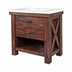 1  Drawer Vanity Sink  with Faux Marble Top walnut wood grai