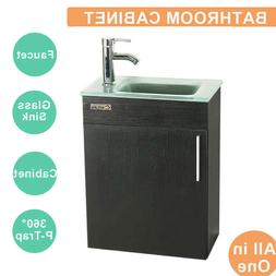 "19"" Bathroom Vanity Cabinet Sink Faucet Vessel W/Wood Glass"