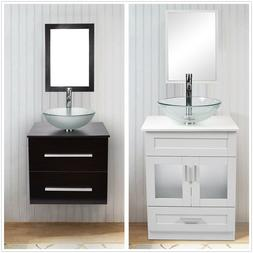 24'' Bathroom Floor Vanity Solid Cabinet Glass Ceramic Vesse