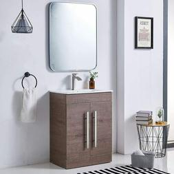 "24"" Bathroom Vanities Solid Wood Freestand Cabinet Set W/ Wh"