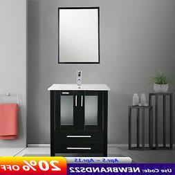 24'' Bathroom Vanity Black Drop in Rectangle Sink Set Mirror