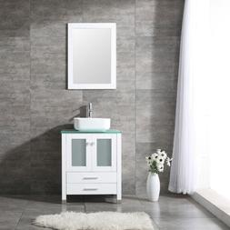 "24"" Bathroom Vanity Cabinet W/Mirror Single Ceramic Vessel S"