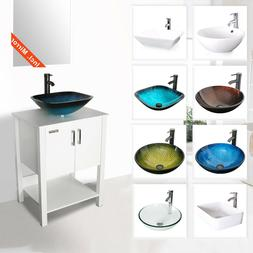 "24"" Bathroom Vanity Cabinet W/ Mirror Vessel Sink Faucet Dra"