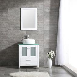 "24"" Bathroom Vanity Cabinet W/Mirror Vessel Sink Vanities Wh"