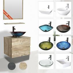 "24"" Bathroom Vanity Glass Ceramic Sink Combo Wall Mounted 2"