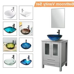 "24"" Bathroom Vanity Vessel Sink Set Wood Cabinet Mirror W/ F"