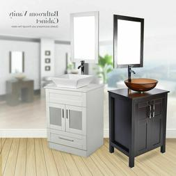24 bathroom vanity single wood cabinet vessel