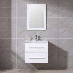 "24"" Wall Mount Bathroom Vanity Floating Sink Cabinet + Mirro"