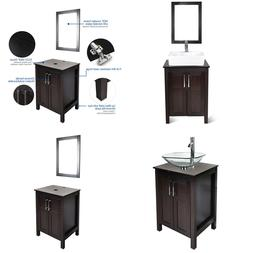 "24"" Bathroom Vanity Wood Cabinet W/ Mirror Freestanding Vess"
