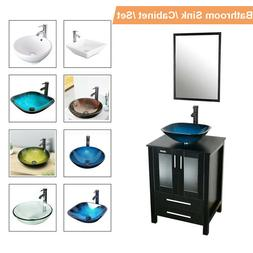 "24"" Black Bathroom Vanity Mirror Cabinet Set Vessel Glass Ce"