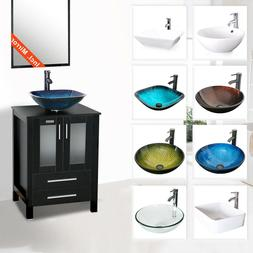 "24"" Black Bathroom Vanity Vessel Sink Set Cabinet W/ Mirror"