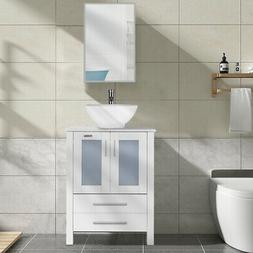 24 inch Bathroom Cabinet White Vessel Sink Modern Vanity w/