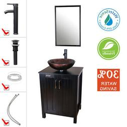 24 inch Bathroom Vanity Black Modern Single Sink Mirror Top