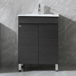24 inch Black Modern Design Bathroom Vanity Cabinet Sink w/F