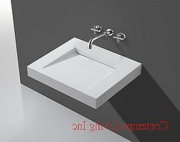 24-Inch Stone Resin Solid Surface Square Shape Bathroom Vani