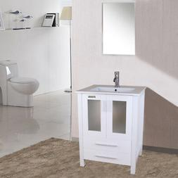 24 inch White Bathroom Vanity W/ Drop in Rectangle Ceramic S