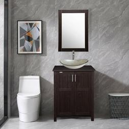 """24"""" Modern Bathroom Vanity And Glass Sink Combo Stand Cabine"""