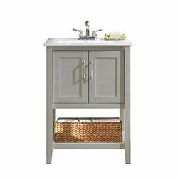 24 Single Bathroom Vanity Set with Basket, Gray