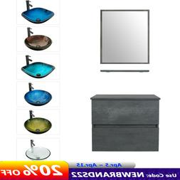 """24"""" Wall Mounted Bathroom Vanity and Glass Sink Combo Concre"""
