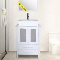 "24"" White Bathroom Vanity Rectangle Ceramic Vessel Sink Set"