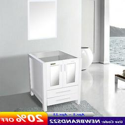 24'' White Bathroom Vanity  W/O Top Mirror Table Cabinet For