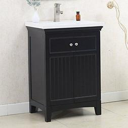 """24"""" WHITE SINK VANITY, NO FAUCET White Solid poplar"""