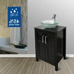 24'' Bathroom White Vanity Cabinet Single Glass Vessel Sink