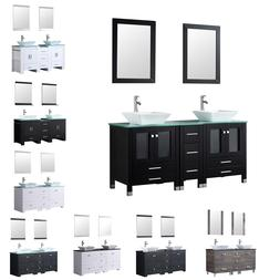"3 Color Bathroom Vanity 60"" Double Wood Cabinet Ceramic Sink"