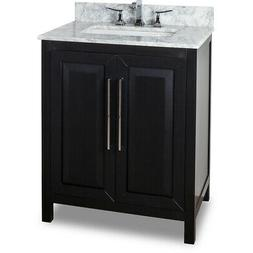 "30"" Cade Black Single Bathroom Vanity + Carrera White Marble"