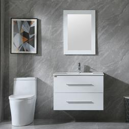 "32"" Bathroom Vanity Set Wall Mounted White Cabinet with Sink"