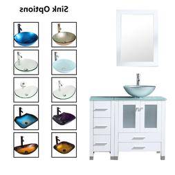 "36"" Bathroom Vanity Cabinet & Tempered Glass Vessel Sink Bow"