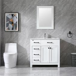 "36"" Bathroom Vanity Cabinet & Undermount Ceramic Vessel Sink"
