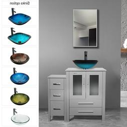 "36"" Bathroom Vanity Modern W/Tempered Glass Vessel Sink Smal"