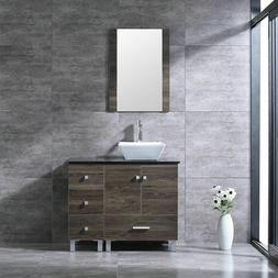 "36"" Bathroom Vanity Square Ceramic Sink Cabinet Solid Wood w"
