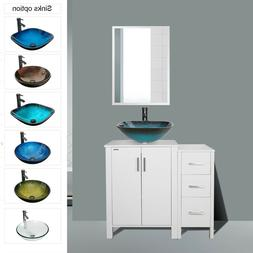 "36"" Bathroom Vanity W/ Mirror Combo Round Square Vessel Sink"