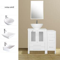 "36"" Bathroom Vanity White W/Small Side Cabinet & Ceramic Ves"