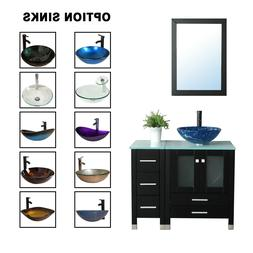 36'' Black Bathroom Vanity Cabinet Top Tempered Glass Vessel
