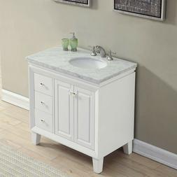 "36"" Carrara White Marble Top Bathroom Single Vanity  with Le"