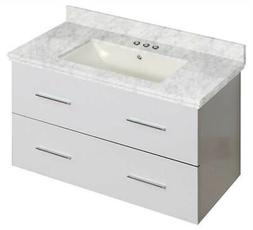 36 in. Wall Mount Bathroom Vanity in White Finish