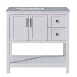 36-inch Bathroom Vanity Right Offset Sink White Cabinet with