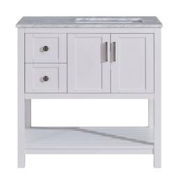 36-inch Carrara Marble Top Bathroom Vanity White Cabinet wit