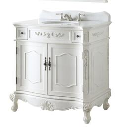 "36"" White Bathroom Vanity Fairmont BC-3905W-AW-36  Benton Co"