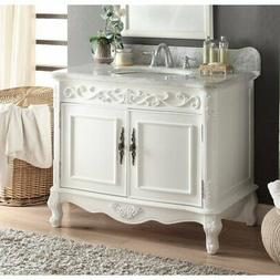 """39"""" Benton Collection Carbone Classic White Bathroom Sink Wh"""