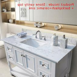43 inch Bathroom Marble Vanity Top With Rectangle Ceramic Si