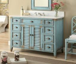 46 Inches Bathroom Vanity - Distressed Blue Abbevile  -28885
