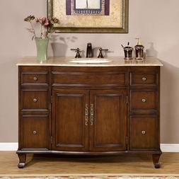 48-inch Bathroom Vanity Single Sink Cabinet Travertine Top B