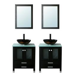 48-inch Black Bathroom Vanities Dual Cabinets Glass Top W/ D