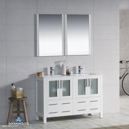"""BLOSSOM 48"""" SYDNEY DOUBLE SINK BATHROOM VANITY IN GLOSSY WHI"""