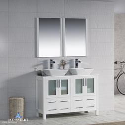 """BLOSSOM 48"""" SYDNEY DOUBLE SINK BATHROOM VANITY WITH VESSEL S"""