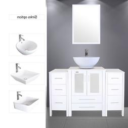 "48"" White Bathroom Vanity 2 Small Side Cabinet & Ceramic Ves"